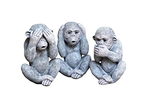 HH Home Hut 3 WISE MONKEYS GARDEN ORNAMENTS DECORATIVE INDOOR OUTDOOR
