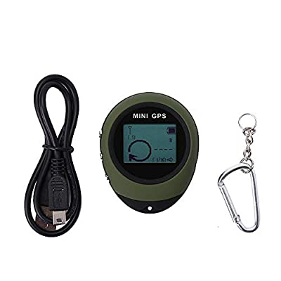 VGEBY1 Mini GPS Receiver, Mini Tracker Location Finder Handheld GPS Navigation with Kay Chain USB Rechargeable for Outdoor Hiking Traveling Wild Exploration