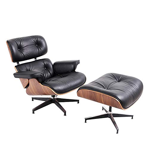 Lounge Chair and Ottoman Mid Century Classic Replica Chair Genuine Leather Recliner Chaise for LivingRoom Bedroom ReadingRoom Office Balcony Solid Wood Grain Modern Style Lounge Chair
