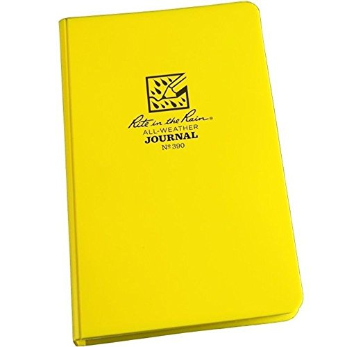 """Rite in the Rain Weatherproof Hard Cover Notebook, 4 3/4"""" x 7 1/2"""", Yellow Cover, Journal Pattern (No. 390)"""