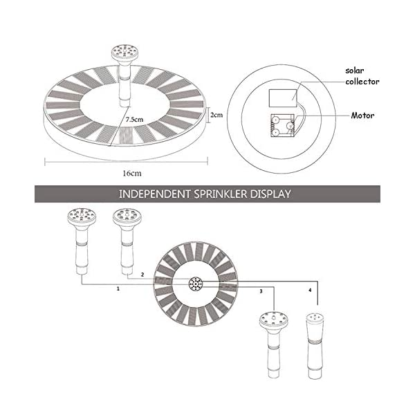 Bomba Fuente Solar,7V 1.4W Bomba de Agua Solar,Fuente de agua solar con 4 boquillas Fuente Solar Jardín,panel solar…