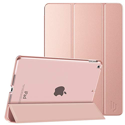 Dadanism Smart Case for iPad 7th Generation 10.2 2019, [Shock Absorption] Ultra Slim Lightweight Trifold Stand Cover with Hard Back Fit iPad 10.2 inch 2019 Release Tablet, Auto Sleep/Wake, Rose Gold