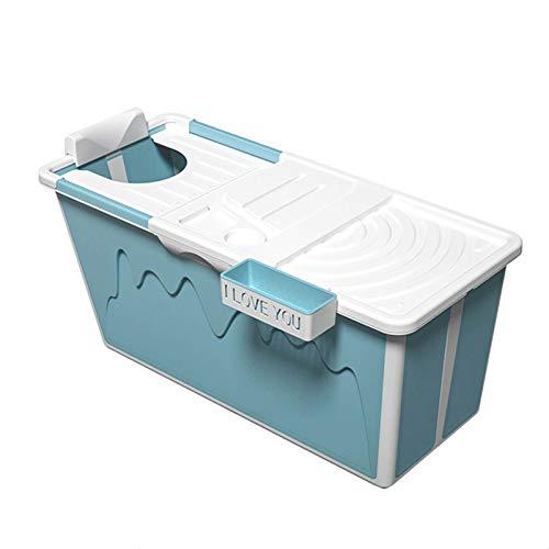 Bañera Plegable portátil, bañera de Esquina Grande y bañera, bañera, cómoda Piscina de bañera doméstica, Aislamiento a Largo Plazo con Cubierta,Azul