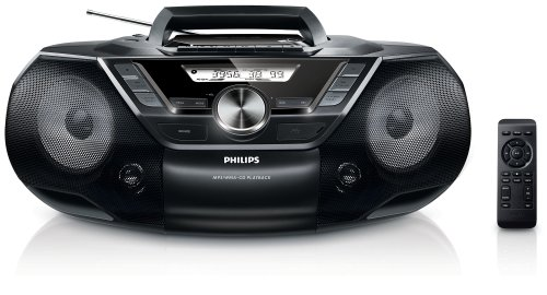 Philips AZ787 CD-geluidsmachine (met cassette, digitale FM, USB Direct, Sleep-Timer, 12 Watt) zwart