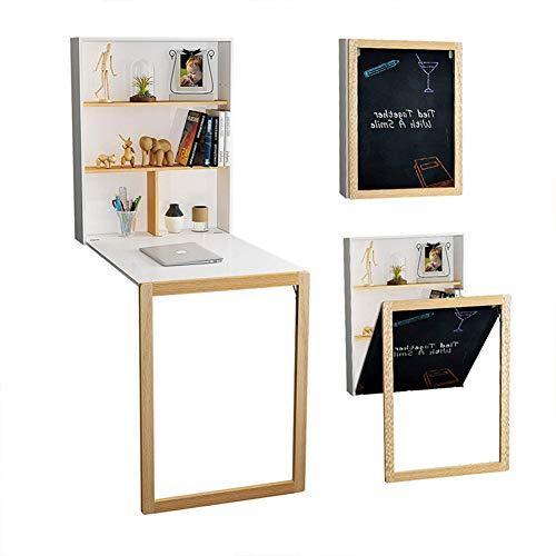 Klappbarer Klapptisch zur Wandmontage mit Ablageflächen und Wandtafel aus Holz Integrierter Schreibtisch Platzsparender Tisch Hängender Tisch für Ess- oder Arbeitszwecke