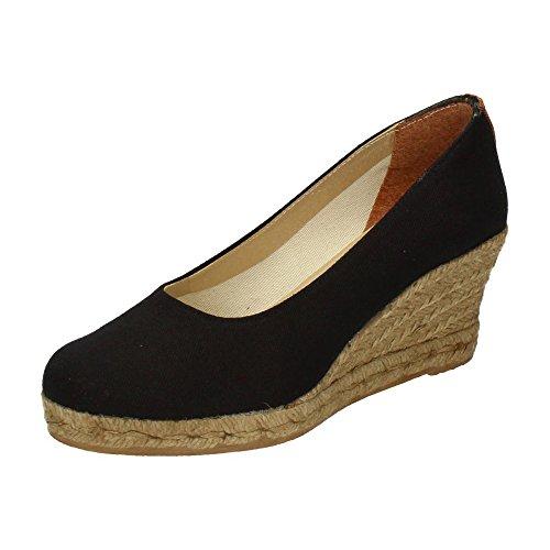 TORRES 4012 Zapatos CUÑA Esparto Mujer Alpargatas Negro 40