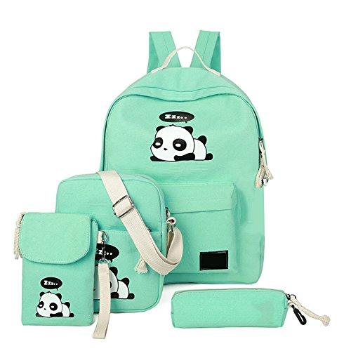 4Pcs Cute Panda Backpack Lightweight Casual Canvas Backpacks for Women