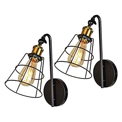 Hamilyeah Industrial Wall Sconces Lighting Indoor, Adjustable Sconces Wall Lighting, Farmhouse Wall Light for Bedroom, Hardwired Wall Sconces for Living Room, Fireplace Set of Two, UL Listed