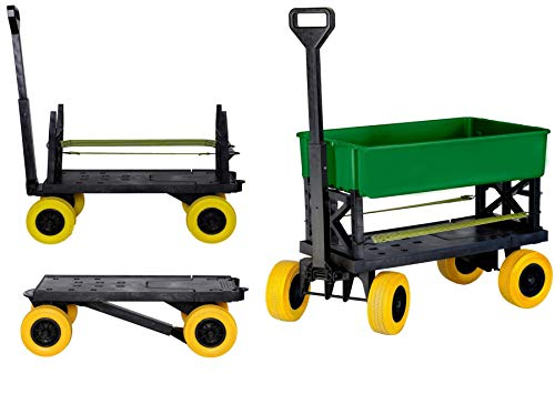 Mighty Max Cart - Adjustable Length Utility Wagon - Includes Tub & Interchangeable Accessories - Compact Easy Storage Pull Cart - All Terrain Wheels (Multi-Purpose Green on Yellow)