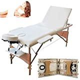 3 Section Portable Wooden Massage Table Couch Bed Adjustable Height from 60CM-85CM, Lightweight