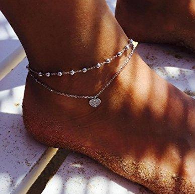 li-an-ca europei e americani vintage argento tibetano argento Hollow prugna fiore piede a forma di cuore cavigliera cuore * 1 1 K