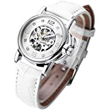 Womens Mechanical Watch, Small Ladies Wrist Watches, White Skeleton Automatic Watches for Women Girls, Unique Ladies Watch with Leather Strap