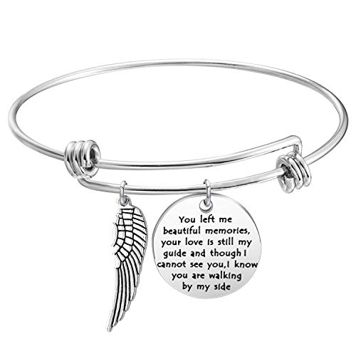 Memory Bracelet with Guardian Angel Loss Jewelry Remember Loved One You Left Me Beautiful Memories Bracelet (Memory bracelet S)
