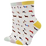 Pomlia Damen Socken Hunde Motive (OneSize, D02)