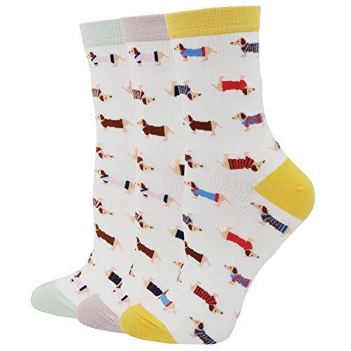 Pomlia® Damen Socken Hunde Motive Dackel Socken Dog Socks (OneSize, D02)