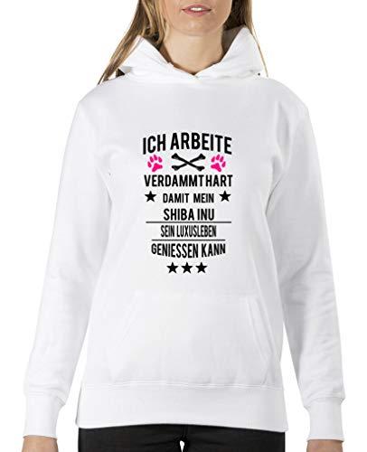 Comedy Shirts – Je travaille dur pour Mon Shiba Inu. – Sweat à capuche pour femme – capuche, sac à kangourou à manches longues, pulli imprimé. - Blanc - XL