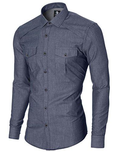 MODERNO Herren Freizeit Hemd - Slim Fit, Langarm, 2 Taschen (MOD1446LS) Blau EU S