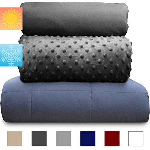 chilla 20 lbs Weighted Blanket Set | 3 Piece Set | Summer + Winter Duvet Covers | 60in x 80in | Carbon