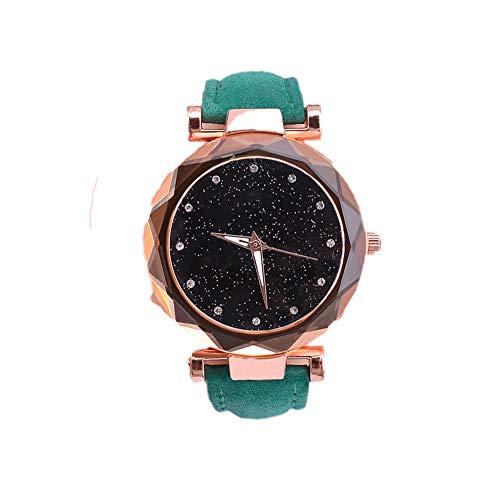 Nwhw Reloj Mujer Diamante de ImitacióN Cielo Estrellado Reloj Cuero Elegante Moda Ocio Reloj de Regalo de Cuarzol. (16)