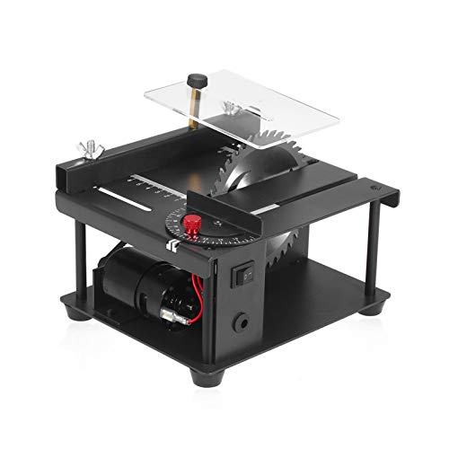 lifcasual Mini Table Saw Multi-Functional Mini Desktop Saw Cutting Set with Adjustable-Speed Saw Blade, 0°-90° Angle Adjustment, 110-240V, 35MM Cutting Depth, for DIY Woodworking Plastic Cutting