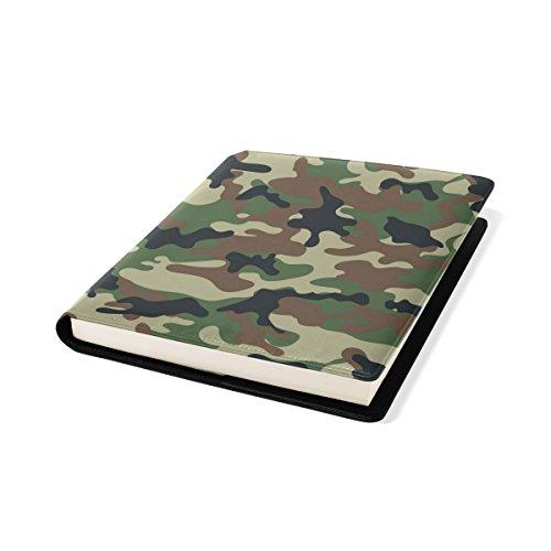 COOSUN - Funda para libro de dibujo de camuflaje (se adapta a la mayoría de libros de texto de hasta 9 x 11 cm) Protector de libro escolar de piel sintética sin adhesivos.