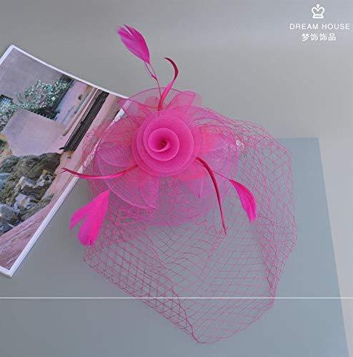 Benutzerdefinierte Braut Tiara Retro Schleier Cheongsam Zubehör Mesh Federn Damen Abendkleid kleinen Hut weiblichen Haarschmuck schwarz weiße Rose rot