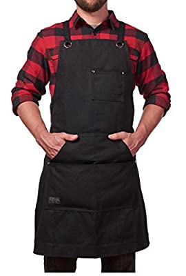 Hudson Durable Goods - Heavy Duty Waxed Canvas Apron, Adjustable up to XXL for Men & Women