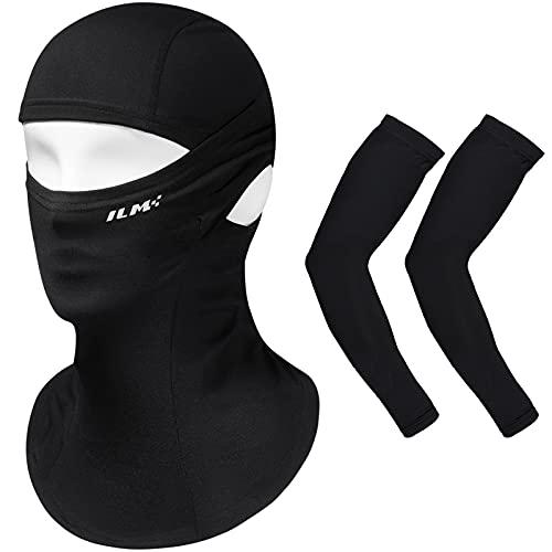 ILM Balaclava Ski Face Mask Arm Sleeves Cover Set UV Protection for Men Women Neck Gaiter Mangas Para Brazos Para El Sol