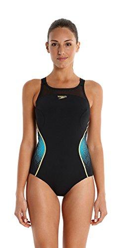 Speedo Damen Badeanzug Fit Pinnacle Xback, Black/Bali Blue/Global Gold, 34