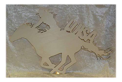 Schlummerlicht24 Led Holz Wandtattoo Deko-Lampe Ein Cowgirl-Hut mit Name, Geschenk-e für Western Fraue-en Kinder Mädchen und Indianer Party Wild West Stiefel Pferd-e