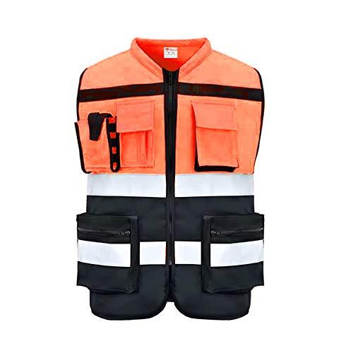 ZOJO Chalecos de seguridad de alta visibilidad con bolsillos, chaleco reflectante para trabajos al aire última intervensión, ciclismo, correr, caminar, deportes – se adapta a...