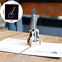 1ピース3Dギターポップアップカード誕生日カードくり抜きグリーティングカードはがき招待状結婚ラブレターメッセージ