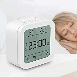 White Noise Machine Portable Sound Therapy Machine with Baby Night Light for Sleeping, Timer & Memory Features 27 Soothing Nature Sleep Sound Noise, Alarm Clock (Military Time) for Home, Office,Travel
