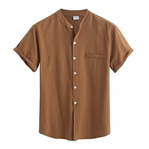 ANJUNIE Summer Linen Cotton Shirt for Men,Men's Short Sleeve Tee Solid Button Down Blouse(Coffee,L)
