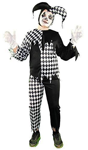 Foxxeo Horror Clown Kostüm für Jungen Kinder Kostüme Halloween Fasching Karneval Größe 122-128