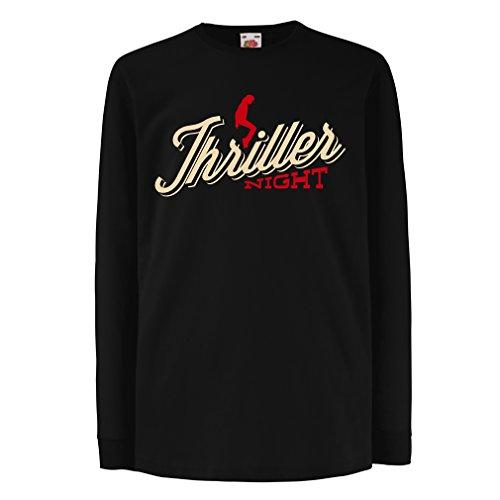 lepni.me Kinder-T-Shirt mit Langen Ärmeln The Thriller Night Dance 80er Jahre 90er Jahre MJ König der Popmusik (14-15 Years Schwarz Mehrfarben)
