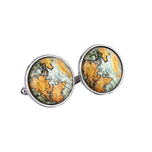 TENDYCOCO Gemelli Mappa antica manica pulsante tempo gemma francese gemelli accessori camicia per uomo 2 paia