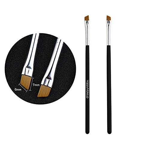 GZA 2 Unids Maquillaje Pinceles Cosméticos Cepillos Kabuki Cara Nariz Polvo Fundamento Kits Maquillaje Cepillo Profesional Mujer Cosmético (Color : BK)