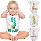 Personalized Girl Boy Baby Onesies Clothes Gift w/Name & Initial - Customized Newborn 6 12 18 24 Months Animal Babies Bodysuit - Custom White Organic Infant/Bebe Short Sleeve Onsie Outfits Clothing C1