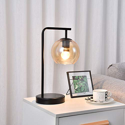 SEVETILKA Vintage Bedside Table Luminaire Lamp Unique Smoky-Gray Glass Lampshade Designs Nightstand Desk Lamp for Bedroom,Living Room Office with White,E27 Bulb Holder Fitting ZWL121Q-SEV1113