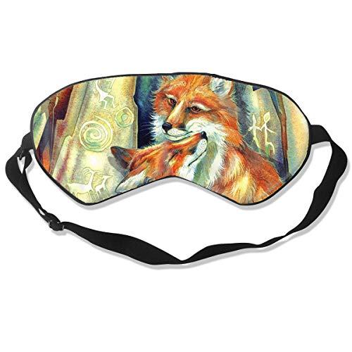 100% Silk Sleep Eye Mask, Fox Love Night Sleep Mask, Meditation With Adjustable Straps, Blocks Light, Suitable For Sleeping Travel Work Naps