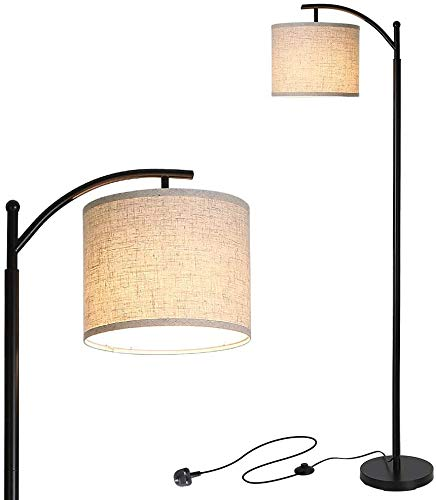Moderne Stehlampe, Klassische Gewölbte Leselampe mit Hängendem Lampenschirm, Energiesparende Stehleuchte mit E27 Warmweiß Birne, 9W ersetzt 60W, Pedalschalter, Ideal für Wohnzimmer, Schlafzimmer