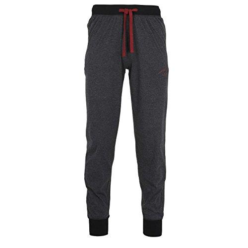 TOM TAILOR Herren Lange-Hose, Schlafhose, Pyjama-Hose - Baumwolle, Single Jersey, schwarz, Melange, mit Bündchen 50