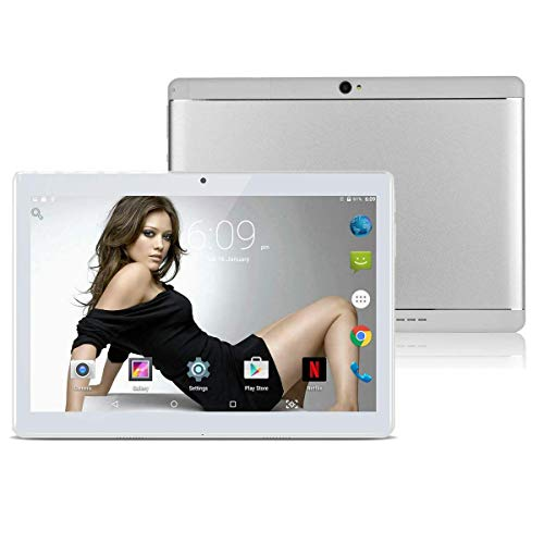 """10.1"""" Inch Android Tablet PC,3G Unlocked Phablet 4GB RAM 64GB Storage with Dual sim Card Slots and Cameras,Tablet PC with WiFi,Bluetooth,GPS(Metallic Silver) (Metallic Silver)"""