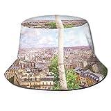 XCNGG Cappello da Pescatore Unisex con Vista dall'alto della Torre Eiffel Cappello da Pescatore da Esterno Cappello da Spiaggia da Viaggio Casual
