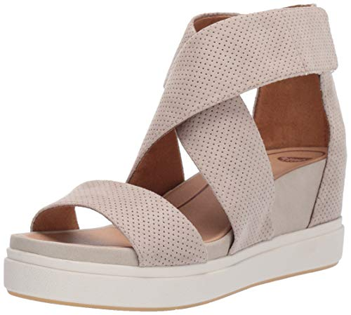 Dr. Scholl's Women's Sheena Wedge Sandal, Oyster Microfiber Perforated, 8 M US