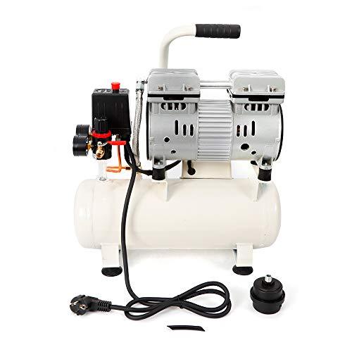 Compresor de aire sin aceite, 9 L, silencioso, sin aceite, compresor de aire silencioso, caldera, compresor silencioso, depósito de presión 680 W, 0,9 CV, 8 bar, 1400 U/min, 50 l/min.