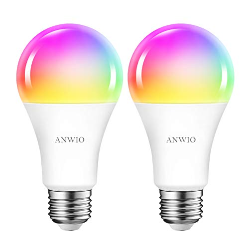 Smart Wifi Led Birne Geführte Birne 12W RGB Glühlampe A70 Bunte Rgb Fernsteuerungslampe Glühbirne E27 1521LM via App Dimmbar, kompatibel mit Google Assistant und Amazon alexa Echo und Echo Dot, 2pack