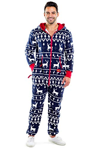 Tipsy Elves Men's & Women's Cozy Christmas Sweater Party - Fair Isle Blue Adult Cozy Jumpsuit L