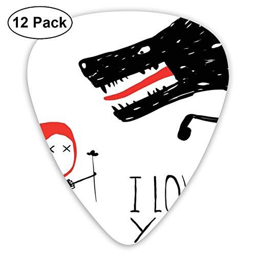 Plektren - 12er-Pack, Mädchen, das Wolf-Comic-Märchenfiguren einen Blumenstrauß zum Valentinstag schenkt, für E-Bass-Akustikgitarre